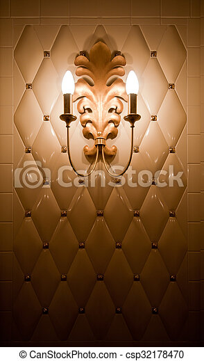 Lamp on vintage tile wall - csp32178470