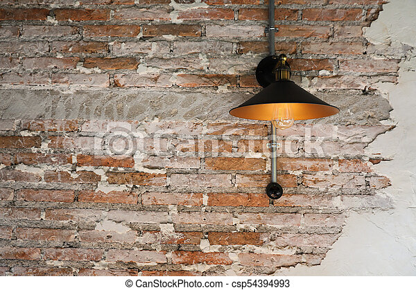 Lamp on wall background - csp54394993