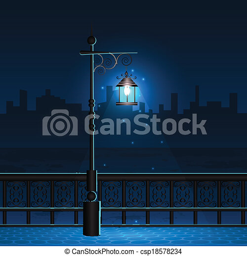 Lamp Post In Night City View Easy To Edit Vector