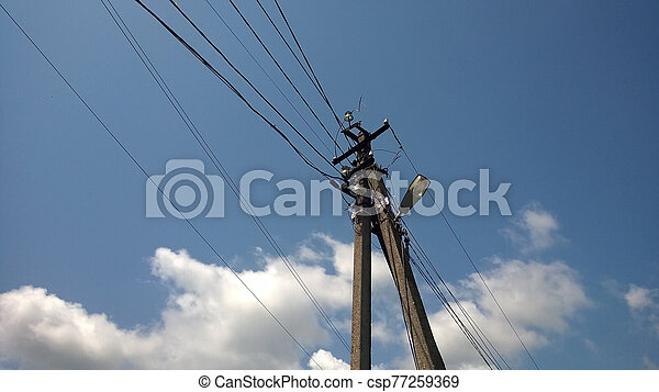 Lamp post with electro wires - csp77259369