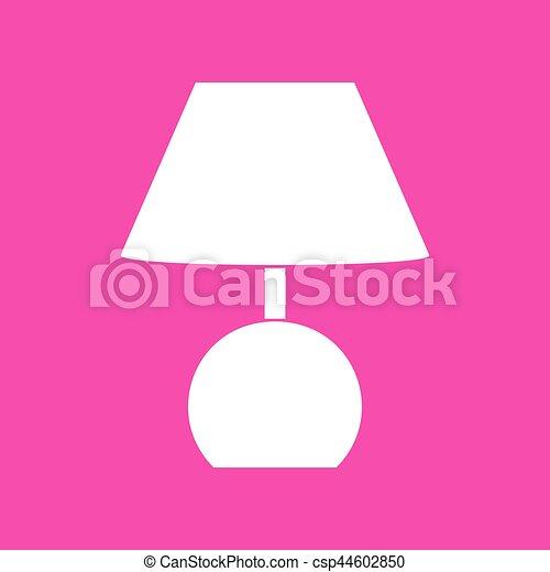 Lamp sign illustration. White icon at magenta background. - csp44602850