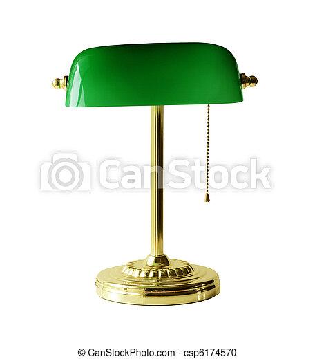 Fräscha Lampa, bankir, skrivbord. Handtag, kedja, guld, klassisk, isolerat JY-33