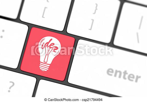 lampada, chiave calcolatore, tastiera - csp21794494
