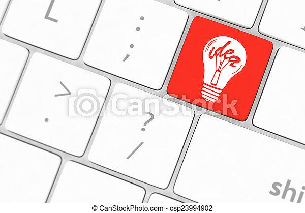 lampada, chiave calcolatore, tastiera - csp23994902