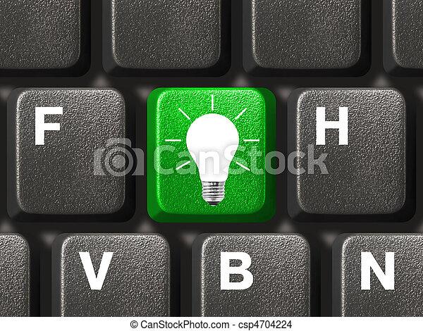 lampada, chiave calcolatore, tastiera - csp4704224