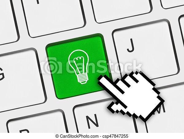lampada, chiave calcolatore, tastiera - csp47847255