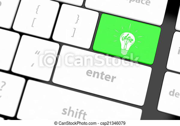 lampada, chiave calcolatore, tastiera - csp21346079