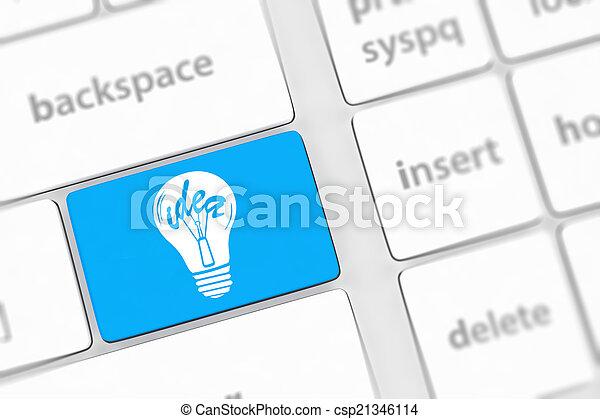 lampada, chiave calcolatore, tastiera - csp21346114
