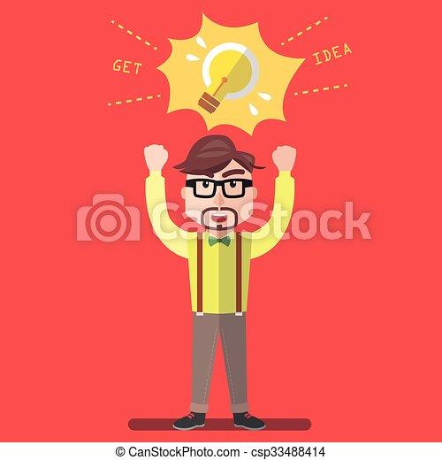 lampada, idea, uomo affari - csp33488414