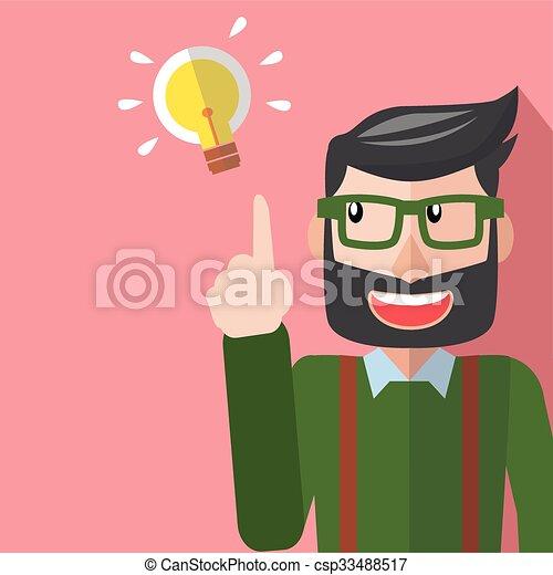 lampada, idea, uomo affari - csp33488517