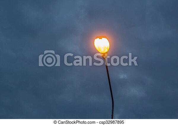 lampada, strada, elettrico, twilight. - csp32987895