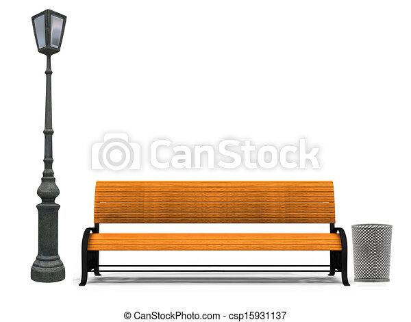 Bench und Lampe - csp15931137