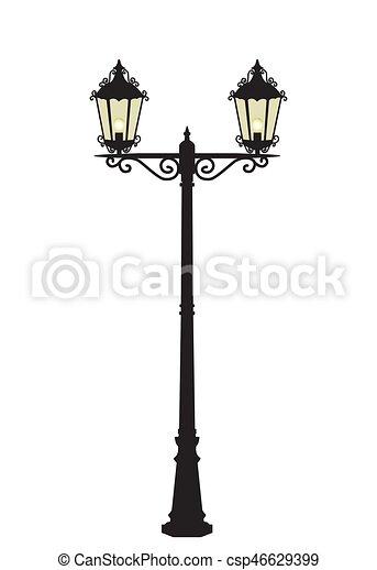 lampe, vecteur, rue - csp46629399