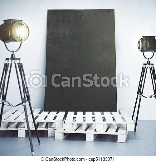 Lampen, spandoek, kamer, leeg. Tentoonstelling, op, beton, houten ...