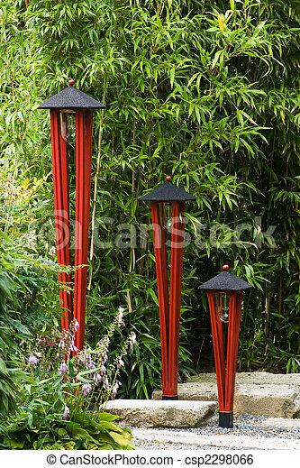 Lampes Jardin Japonais Illuminer Jardin Peint Image De Stock