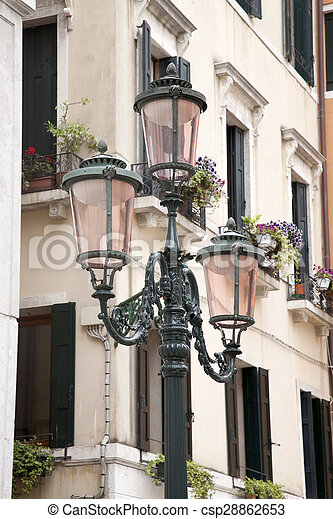 Lamppost in Square of Venice - csp28862653