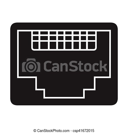 Lan Port Icon In Black Style Isolated On White Background Personal