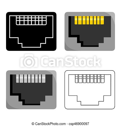 Lan Port Icon In Cartoon Style Isolated On White Background