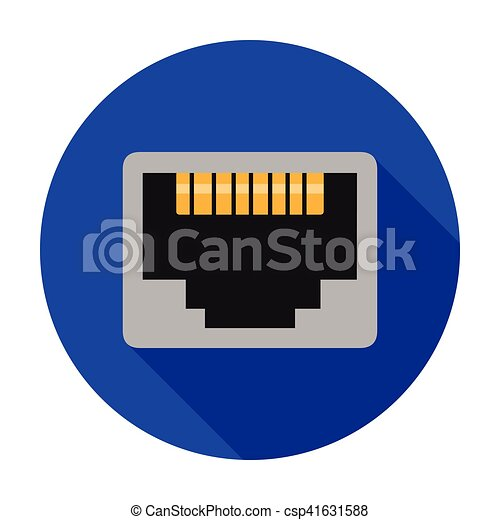 Lan Port Icon In Flat Style Isolated On White Background Personal