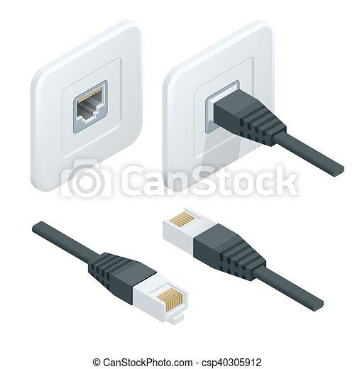 Relativ Lan, vernetzung, kabel, isometrisch, vektor, icon., internet PO79
