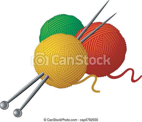 Espinillas de lana y agujas de tejer - csp4792930
