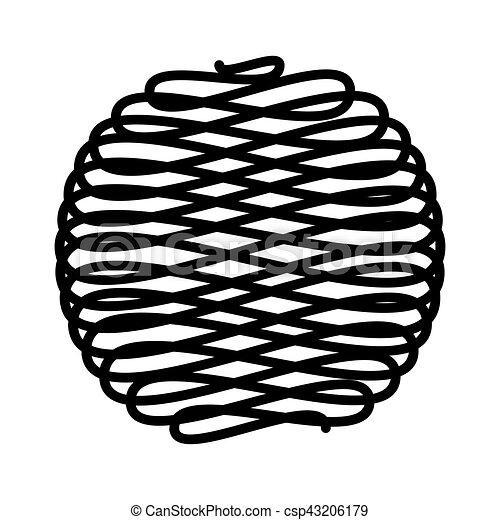 lana, pelota, aislado, icono - csp43206179