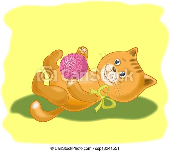 Gato de cartón con una bola de lana - csp13241551