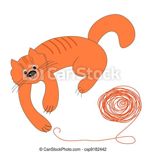 lana, pelota, feliz, rojo, gato - csp9182442