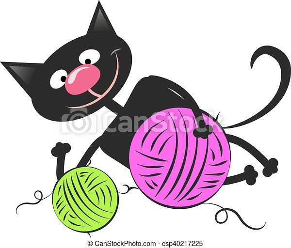 Gato negro con una bola de lana - csp40217225