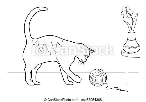 Gato jugando con una bola de lana - csp57054368