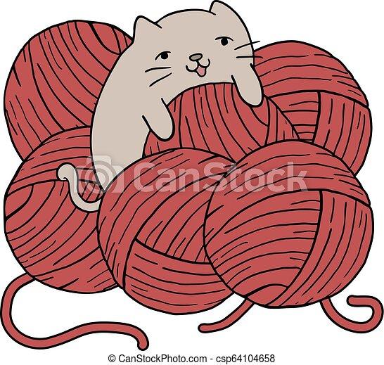 lana, pelotas, gato - csp64104658