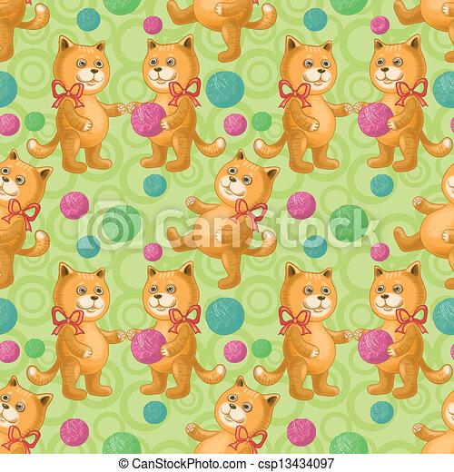 Sin techo, gato con una bola de lana - csp13434097