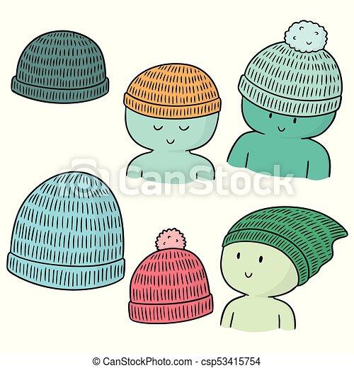 Vector conjunto de sombrero de lana - csp53415754