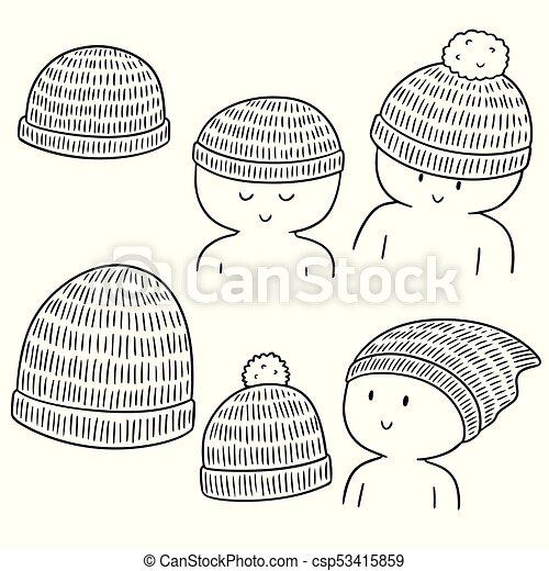 lana, vector, conjunto, sombrero - csp53415859