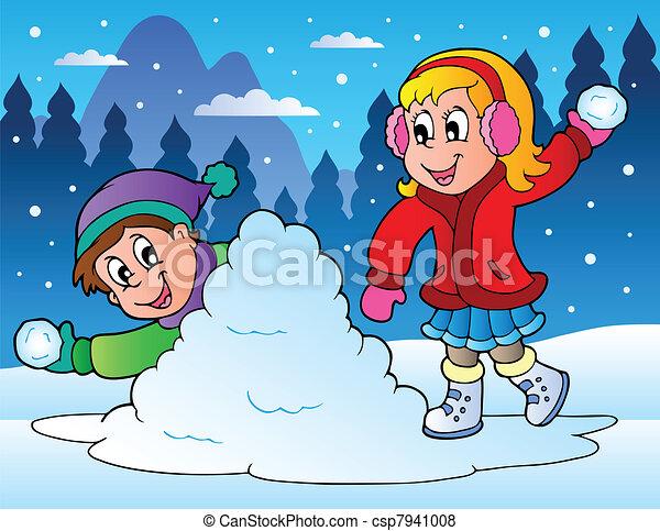 lancement, gosses, deux, balles, neige - csp7941008