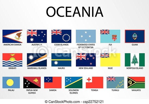 Alphabetische Flaggen für den Kontinent Ozeanien - csp22752121