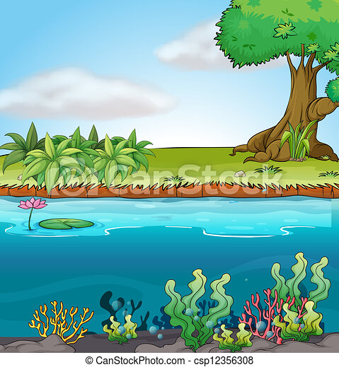 illustration of land and aquatic environment in a colorful vector rh canstockphoto com Cartoon Environment Environment C
