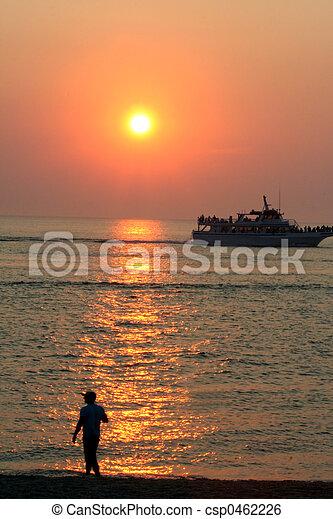 Land And Sea Sunset - csp0462226