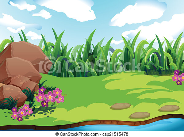 land illustration of a plain with grass