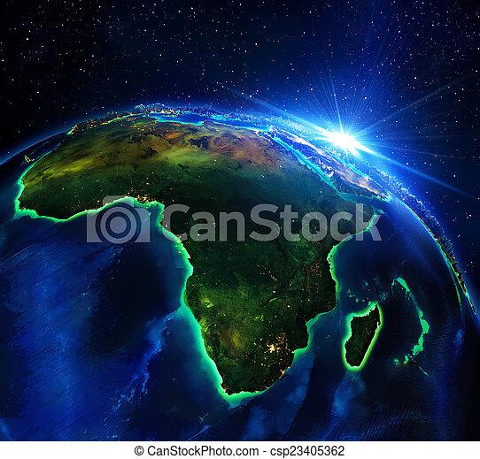 Landgebiet in Afrika, die Nacht - csp23405362