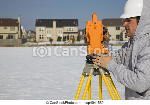 Land surveying during the winter - csp4041552