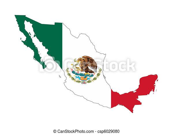 land, vlag, mexico kaart. kaart, mexico, vrijstaand, illustratie