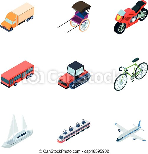 Land, water, air transport  Machines that people use Transportation icon in  set collection on cartoon isometric style vector symbol stock