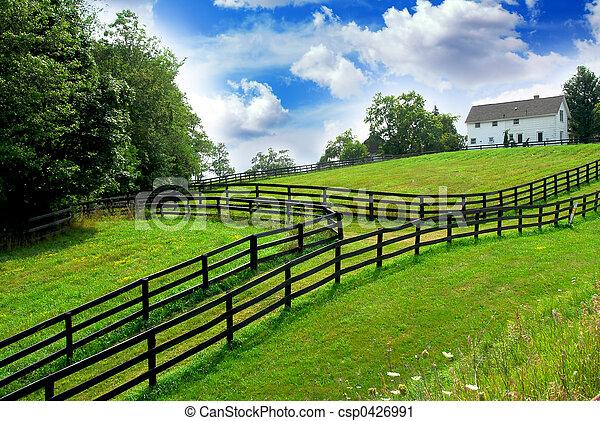 landelijk landschap, boerderij - csp0426991