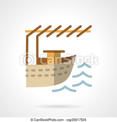 Landing for boat flat color design vector icon - csp35917504