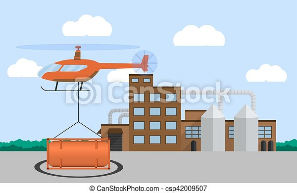 Landing helicopter with cargo  Air delivery concept