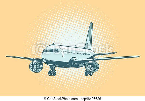 Landing of a passenger plane - csp46408626