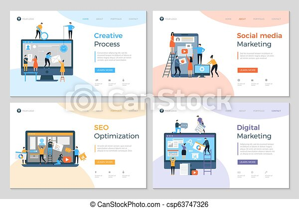 Landing Pages Design Business Creative Website Construction Advertizing Agency Mobile Pc Development Designing Layout Vector