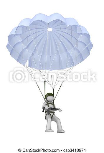 Landing paratrooper with rifle - csp3410974