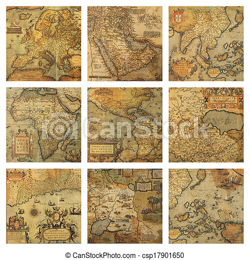 landkaarten, oud, fragmenten, collage - csp17901650
